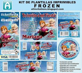 Kit de plantillas imprimibles con el tema de Frozen una aventura congelada