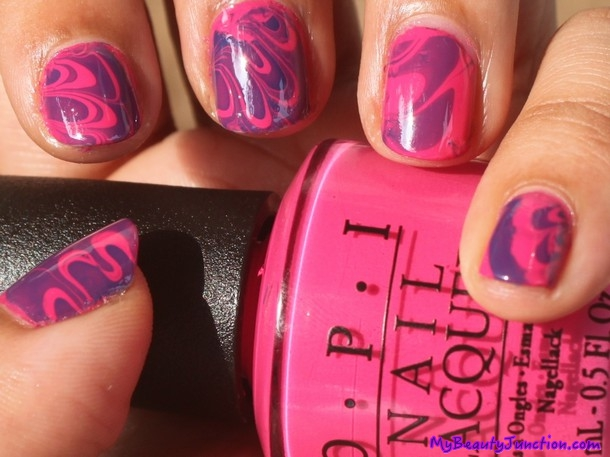 Basic water marbling nail art attempt with OPI polish