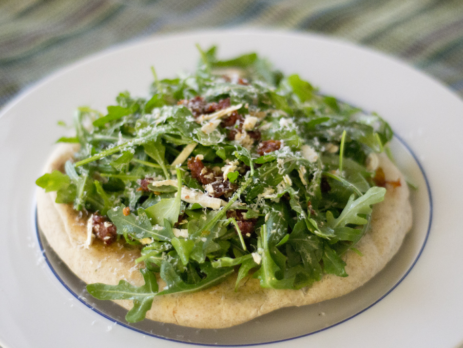 ... Flatbread Pizza with Arugula, Sundried Tomato and Ricotta Salata