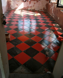 All of the whole tiles have been laid