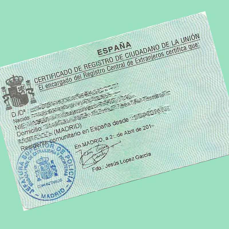 Certificado Comunitario (NIE)