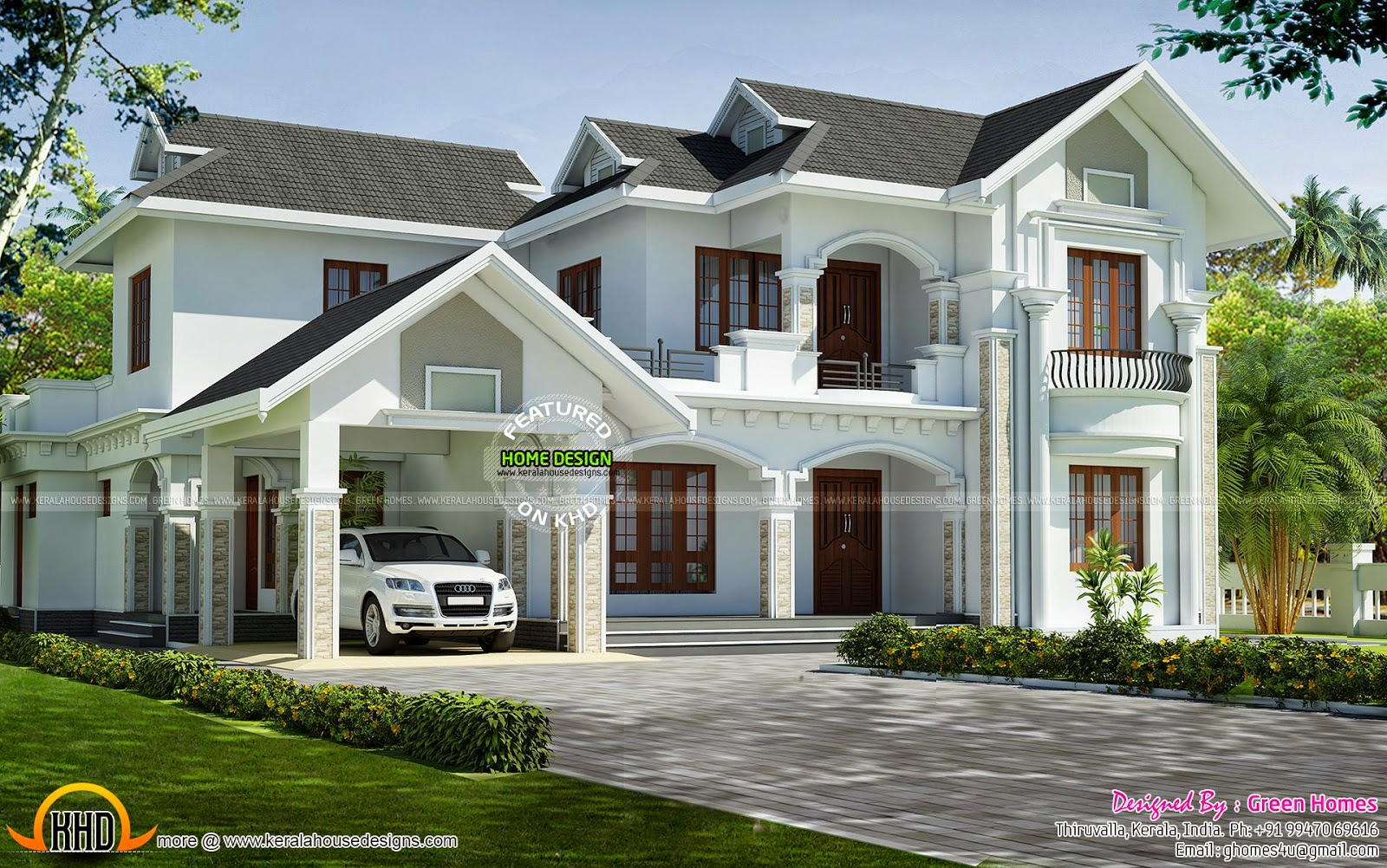 Kerala model dream house kerala home design and floor plans for Home front design model