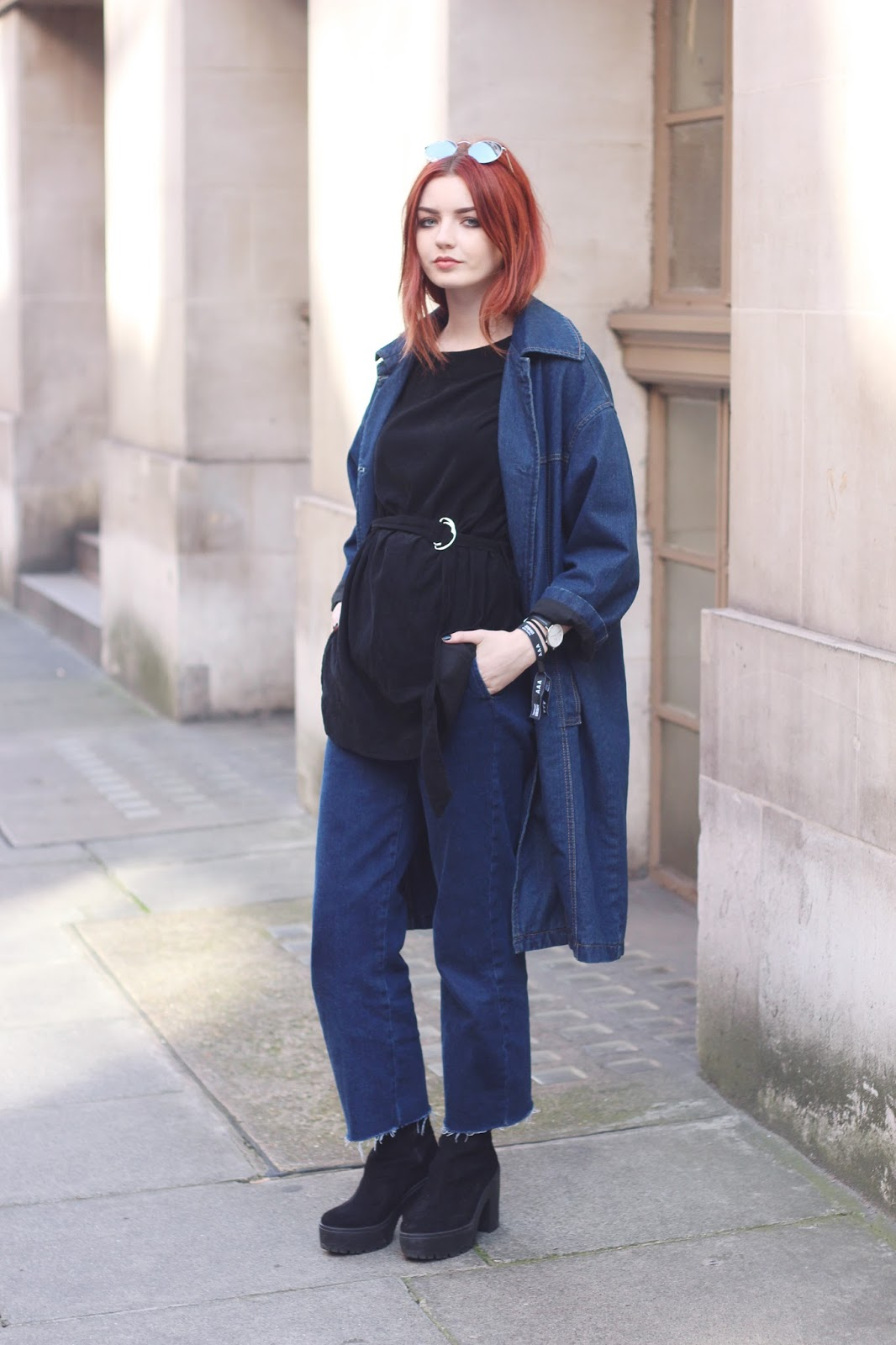 double denim denim coat