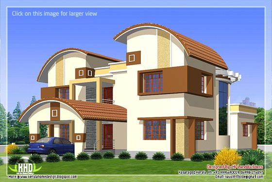 2912 5 diffrent type house designs kerala home for Different elevations of house
