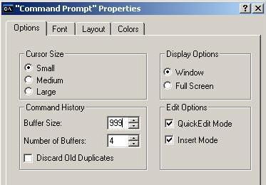 cmd.exe properties dialog box