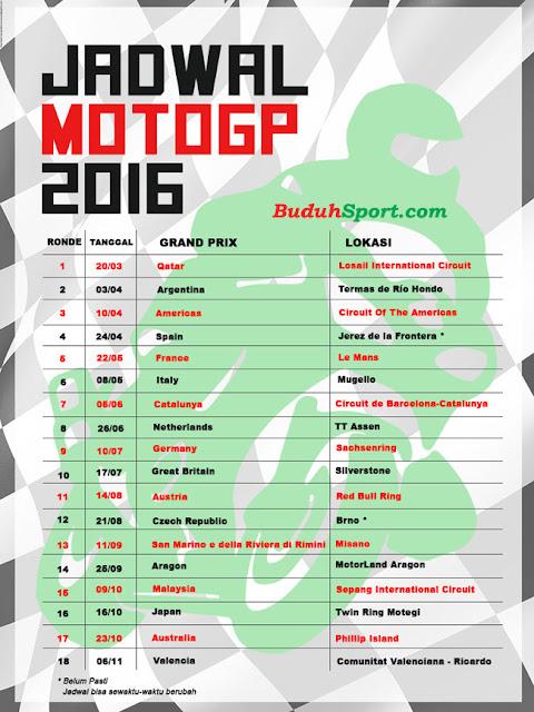 Jadwal Laga MOTO GP 2016