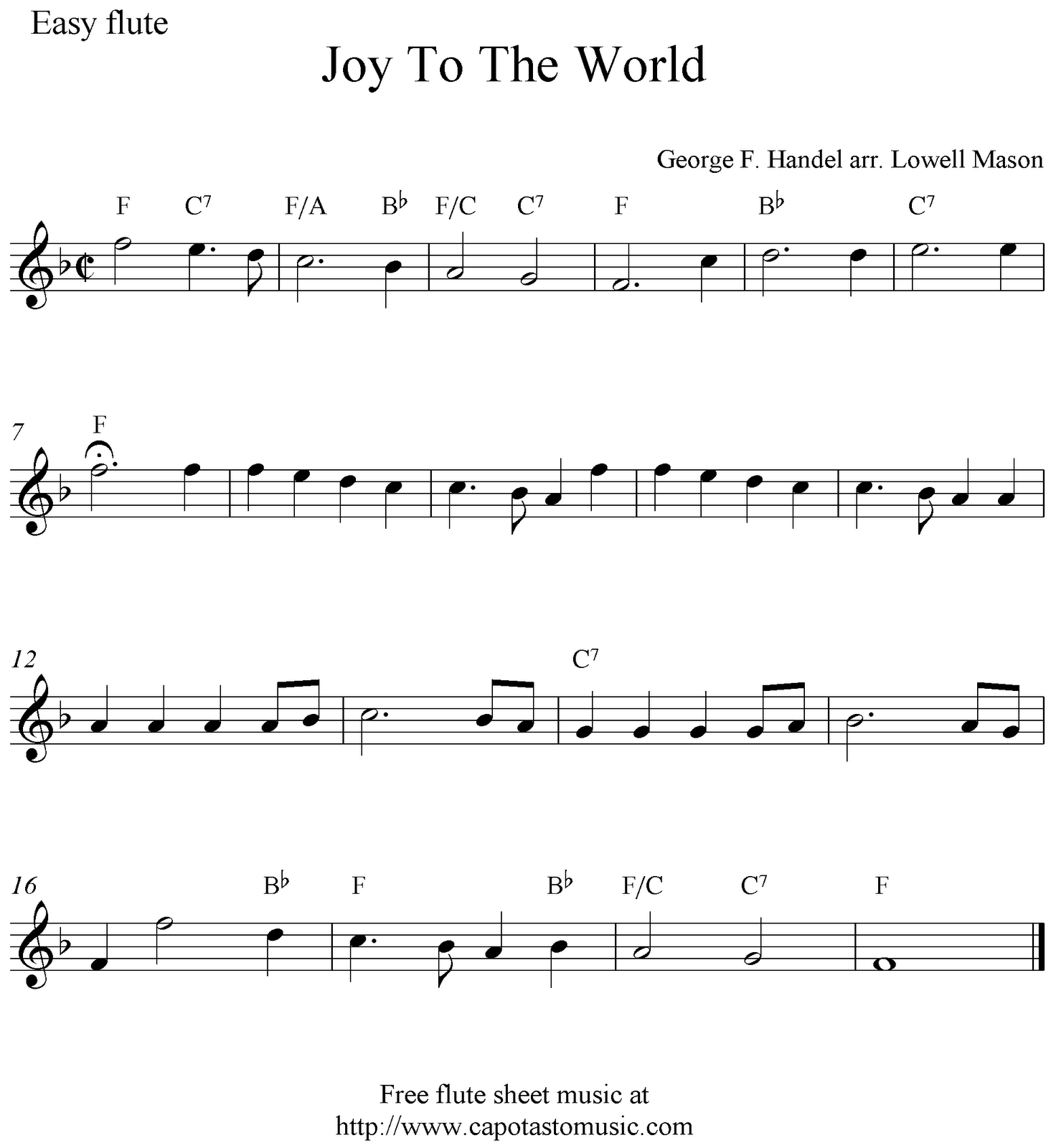 Joy To The World, free Christmas flute sheet music notes