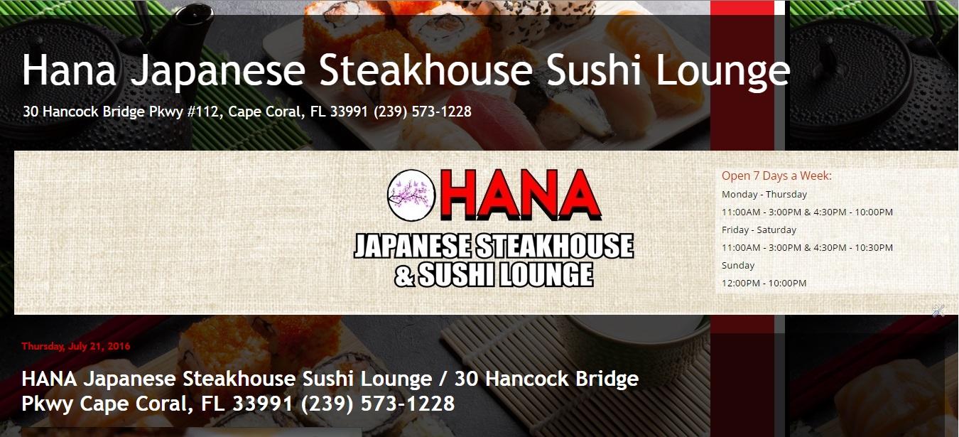 HANA JAPANESE STEAKHOUSE SUSHI LOUNGE