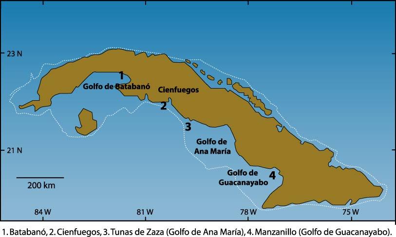 golfos de cuba en mapa