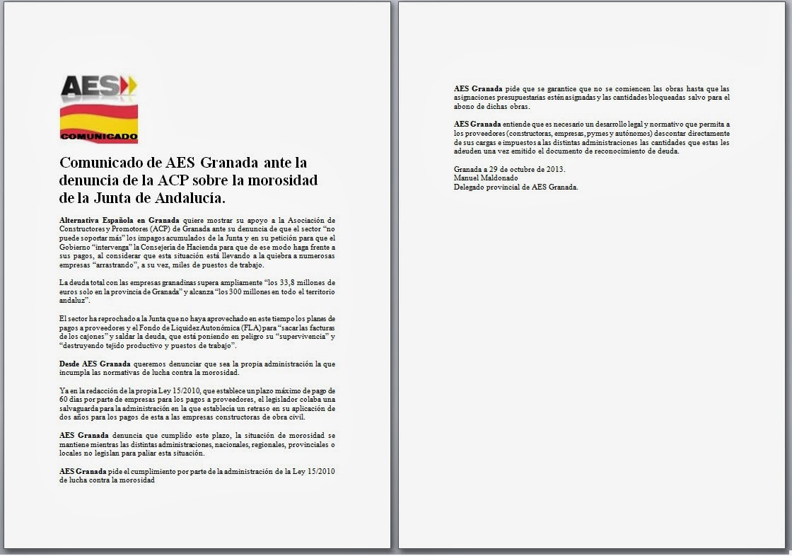 Comunicado de aes granada ante la denuncia de la acp sobre la morosidad de la junta de andaluc a - Pisos de la junta de andalucia ...
