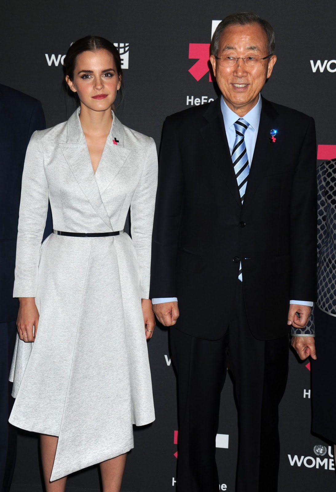 Emma Watson in a belted coat dress at the UN Women's HeForShe Campaign Launch Event in NY