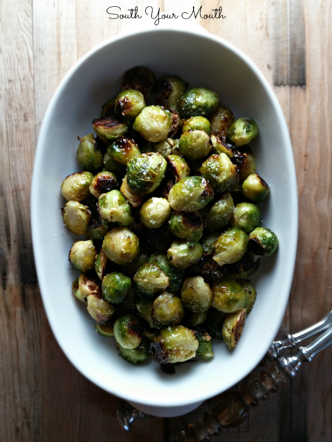 Roasted brussels sprouts with garlic, olive oil and sea salt. Delicious! Plus tips for avoiding bitter sprouts.