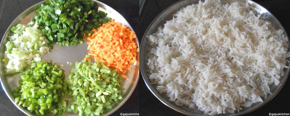 chopped vegetables and cooked rice ready for making fried rice