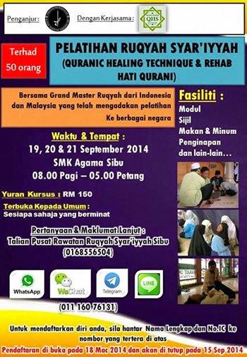 PELATIHAN RUQYAH METODE QURANIC HEALING SI SIBU MALAYSIA