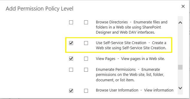 sharepoint 2010 self service site creation permission
