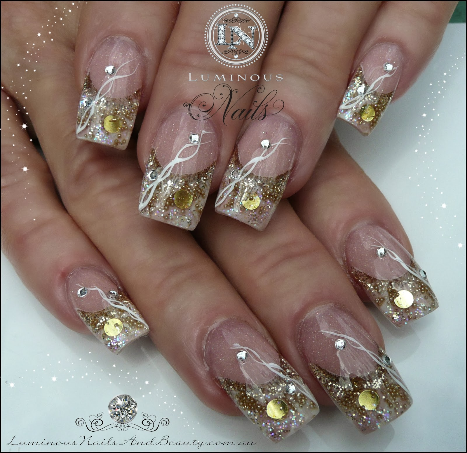 Acrylic Nails With Bows And Diamonds Tumblr