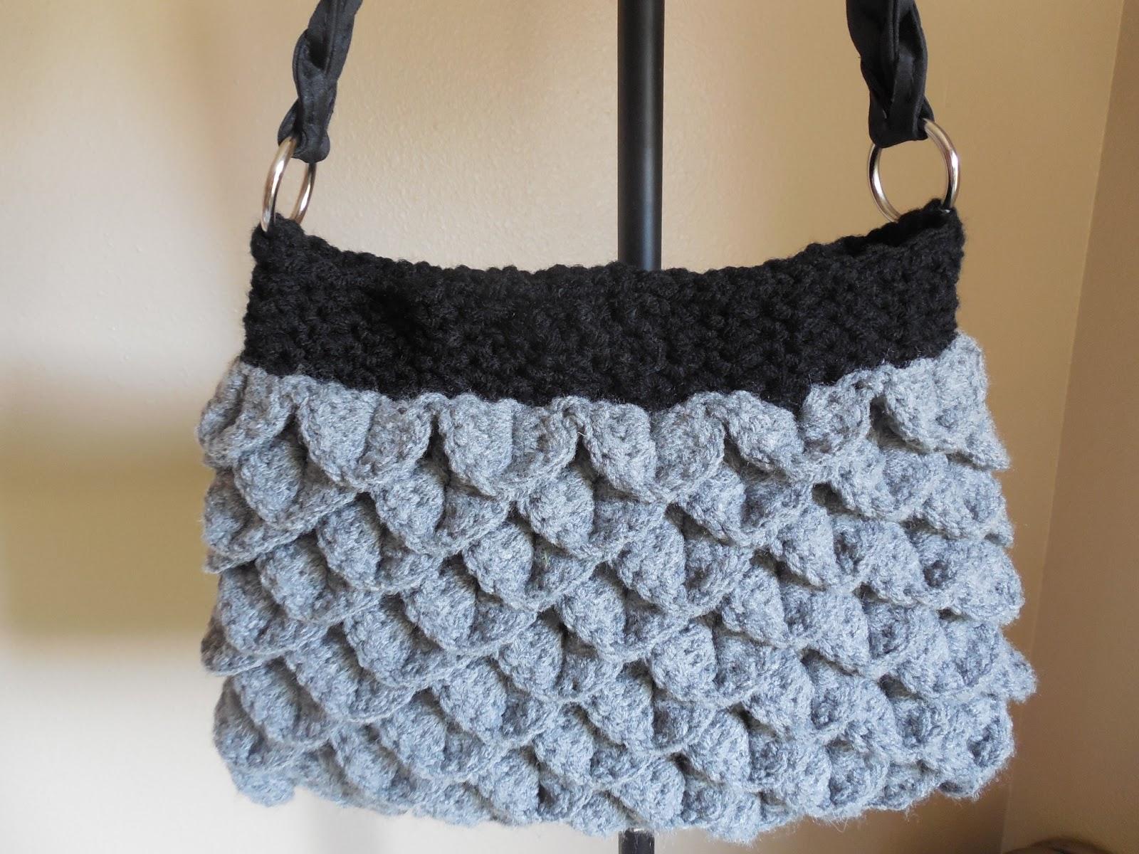 Free Crochet Pattern Crocodile Stitch Bag : Hooked On Handmade: Crocodile Stitch Purse