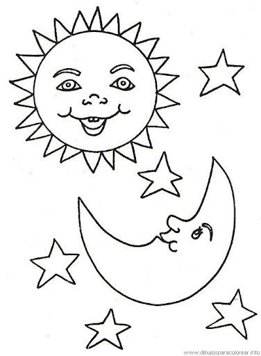 Dibujos del sol y la luna para colorear | Amiguito En Línea