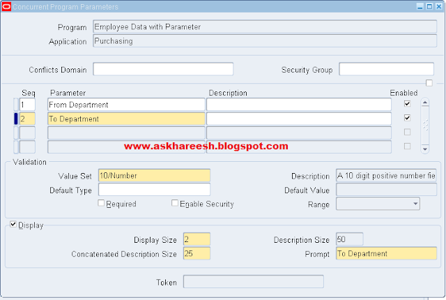 PL/SQL Stored Procedure registration with Parameters, askhareesh blog for Oracle Apps