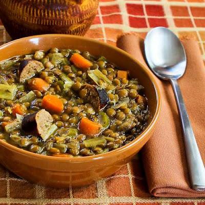 Slow Cooker Lentil Soup Recipe with Turkey Bratwurst, Leeks, and Sherry Vinegar found on KalynsKitchen.com