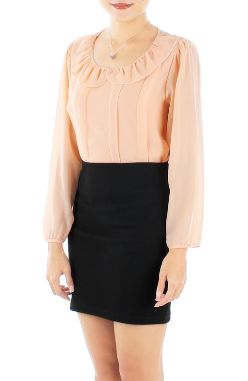 Pastel Peach Carnation Ruffled Long Sleeve Blouse with Pintuck Panels