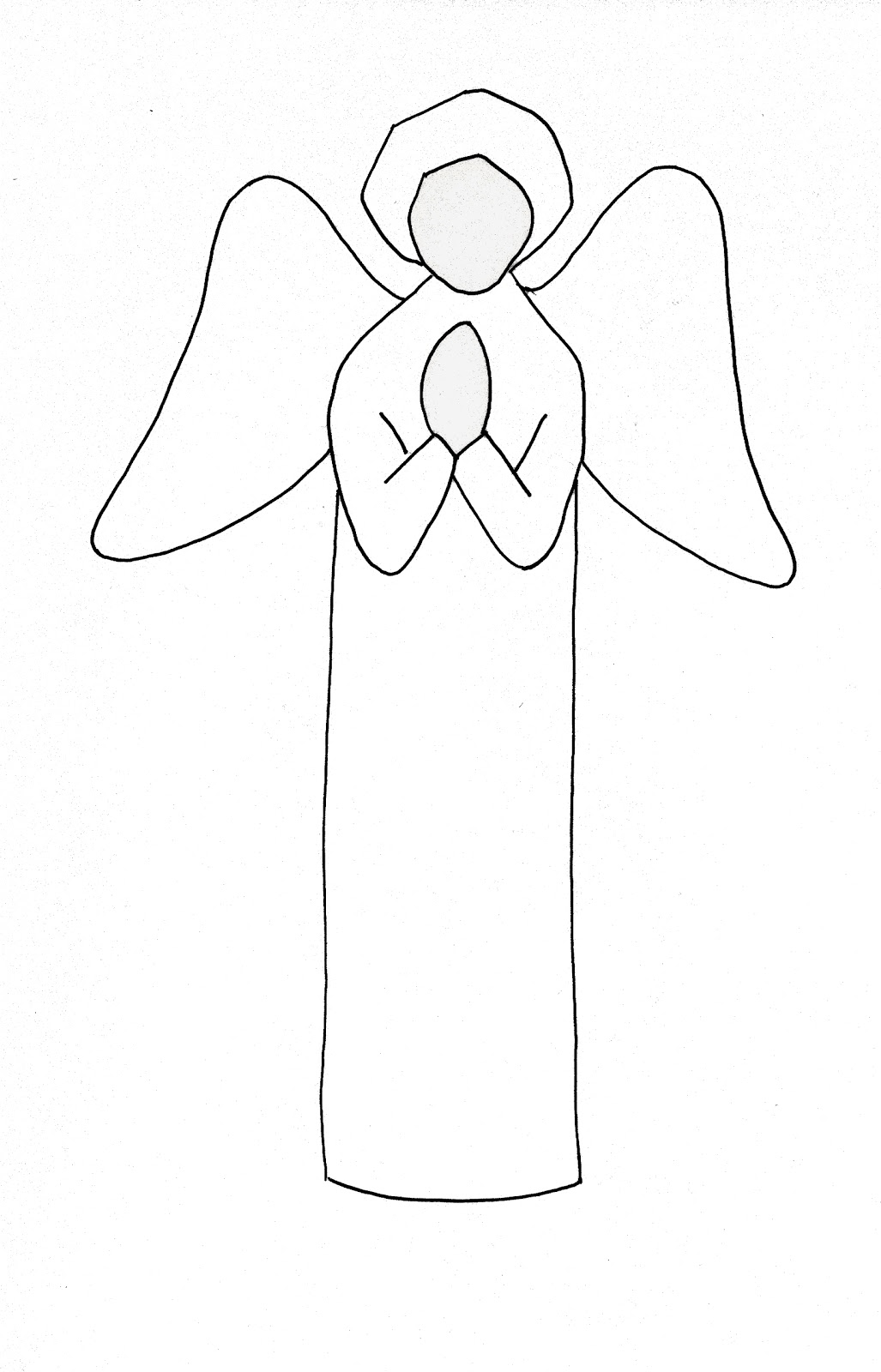 drew a simple angel and worked from it with pencils, tracing paper ...