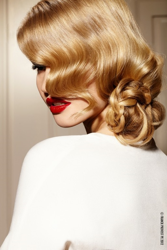 elegant blond retro updo, side chignon, bun
