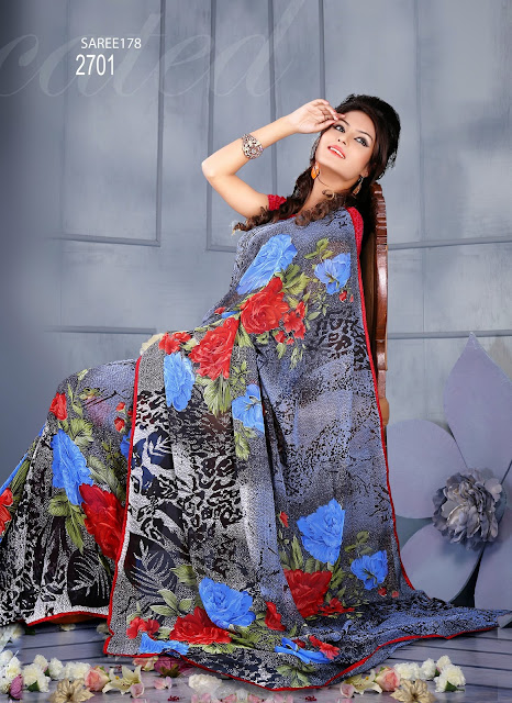 Georgette Designer Floral Printed Saree