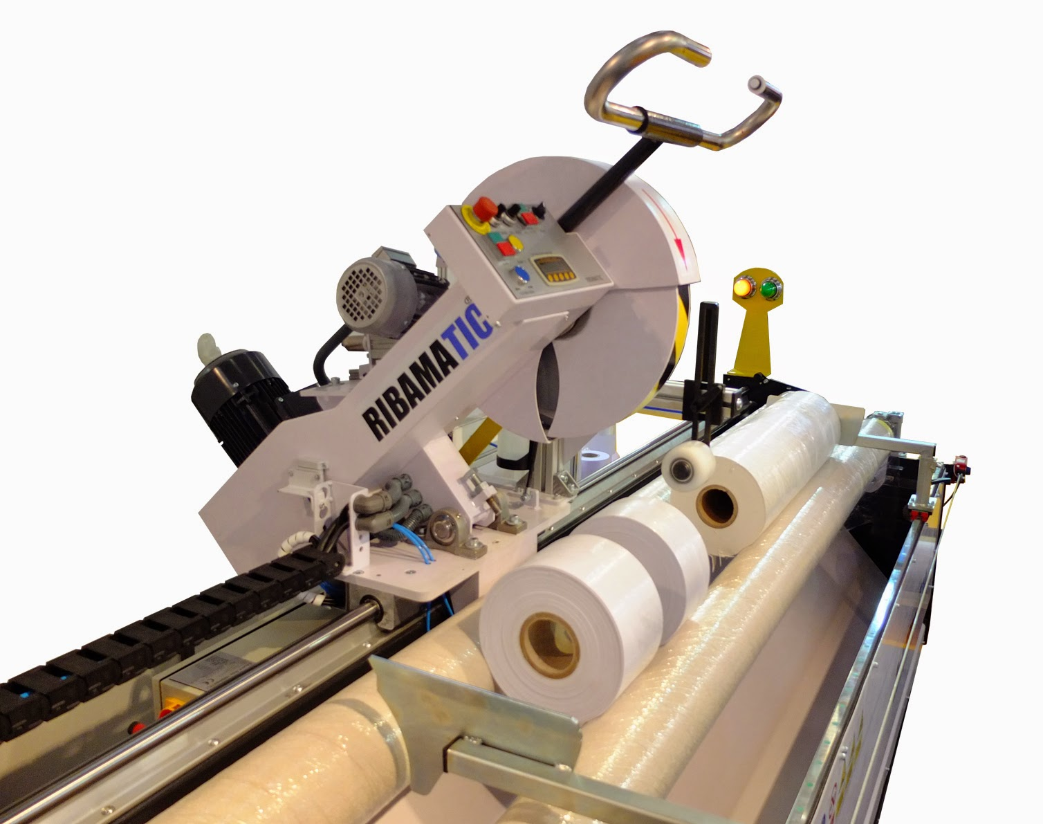 RIBAMATIC Roll Slitter Roll Slitting Machines Foils Banners Polyester Nonwovens Roll