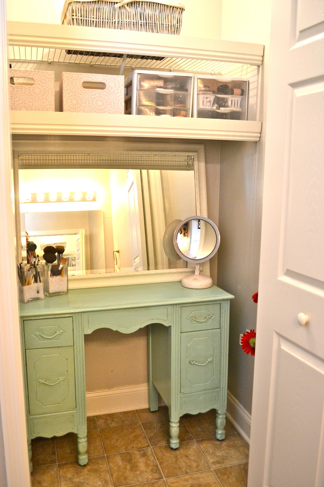 Liz marie bathroom closet re do for Closet vanity ideas