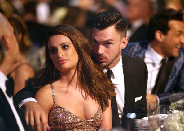 Were you just sewing your dress when you came out? Did you run out of time? And Lea Michele wasted no time in mentioning during the red carpet moment at the amfAR gala in Hollywood, CA, USA on Wednesday, October 29, 2014.