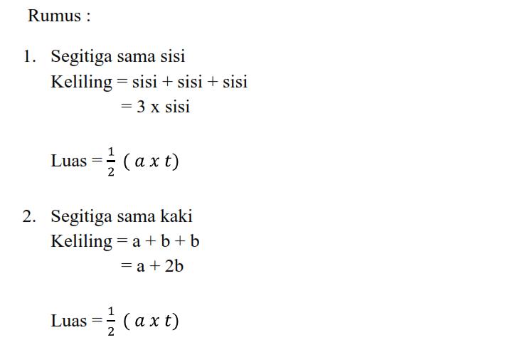 Rumus Luas Dan Keliling Segitiga Secara Umum Matematika