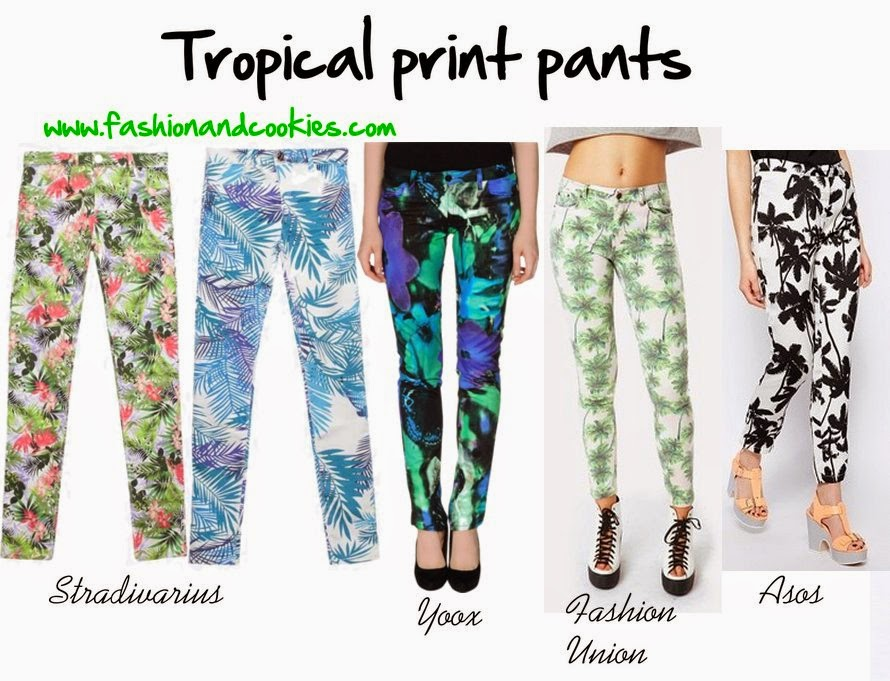 tropical print pants shopping selection, fashion and cookies, fashion blogger