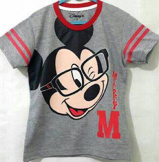 Baju Anak Karakter Mickey Mouse Kepala Abu Size 1 - 6 Tahun