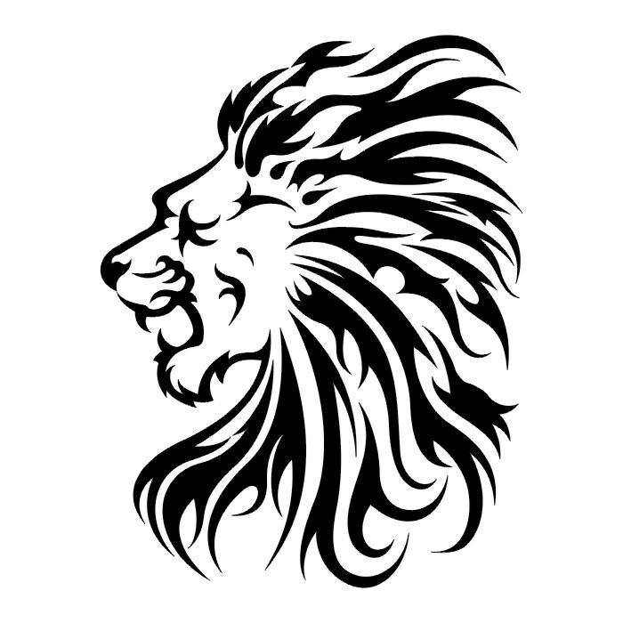 Lion Tatto Black & White Tribal