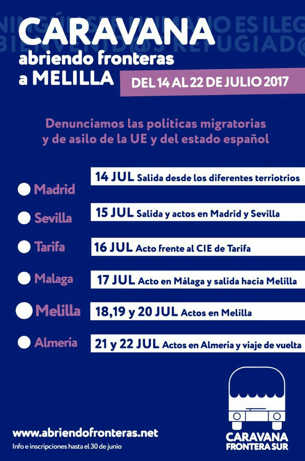 CARAVANA ABRIENDO FRONTERAS A MELILLA . Del 14 al 22 de Julio 2017. Ruta completa.