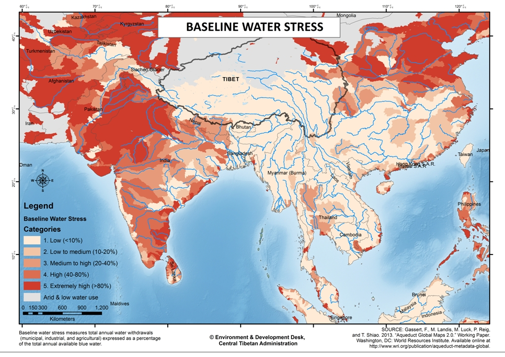 Tibet environment and development water availability and management baseline water stress regions in asia map edd diir gumiabroncs Choice Image