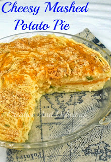 Cheesy Mashed Potato Pie ~ Deliciously different way to serve mashed potatoes and so CHEESY! #MashedPotatoes #PotatoPie #CheesyPotatoes