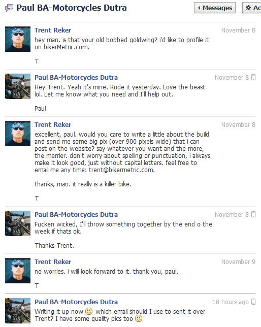 facebook conversation with paul dutra