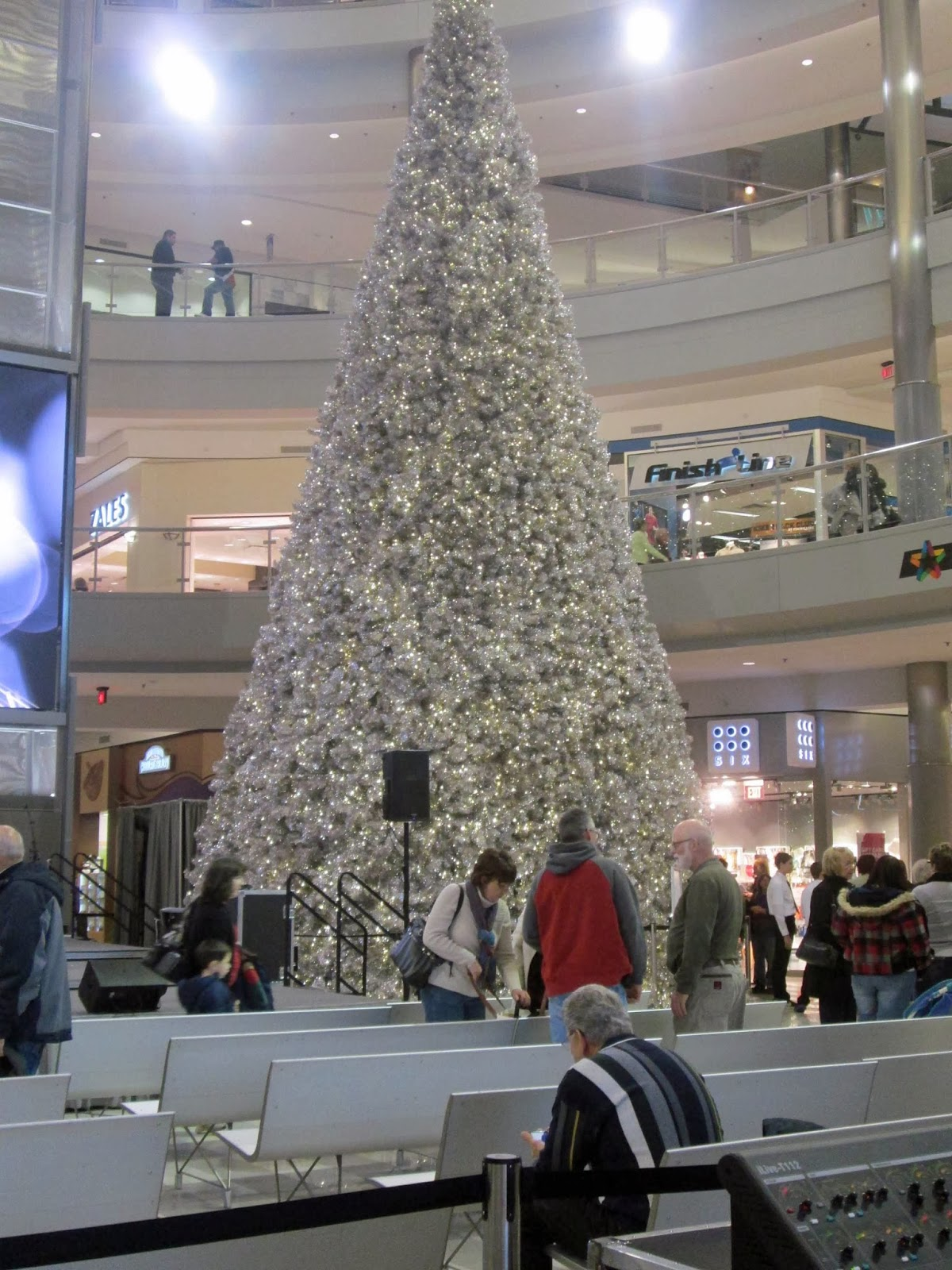 i found the mall of america has very subdued decorations this year in the rotunda there are two large silver trees - Mall Of America Christmas Decorations