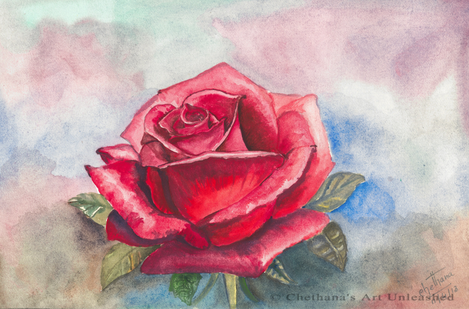 Rose acrylic painting the image kid has it for How to paint a rose in watercolor step by step