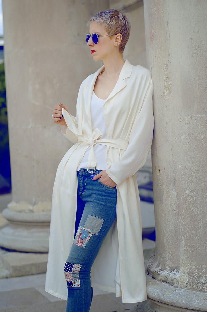 white silk trench front row shop beeswonderland