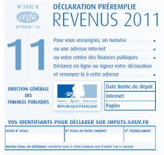 image du formulaire de déclaration des revenus 2011