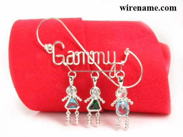 Argentium Sterling Silver Pin Brooch with Kids charms pendants