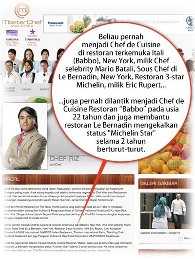 panas chef riz anak chef wan tipu resume gosip terkini