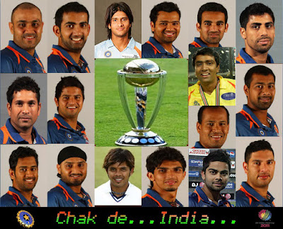 Indian Team For The ICC Cricket World Cup 2011, captain and team, Indian squad for worldcup 2011