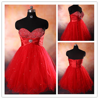 Satin Sweetheart Strapless Red Short/Mini Cocktail Party Dress