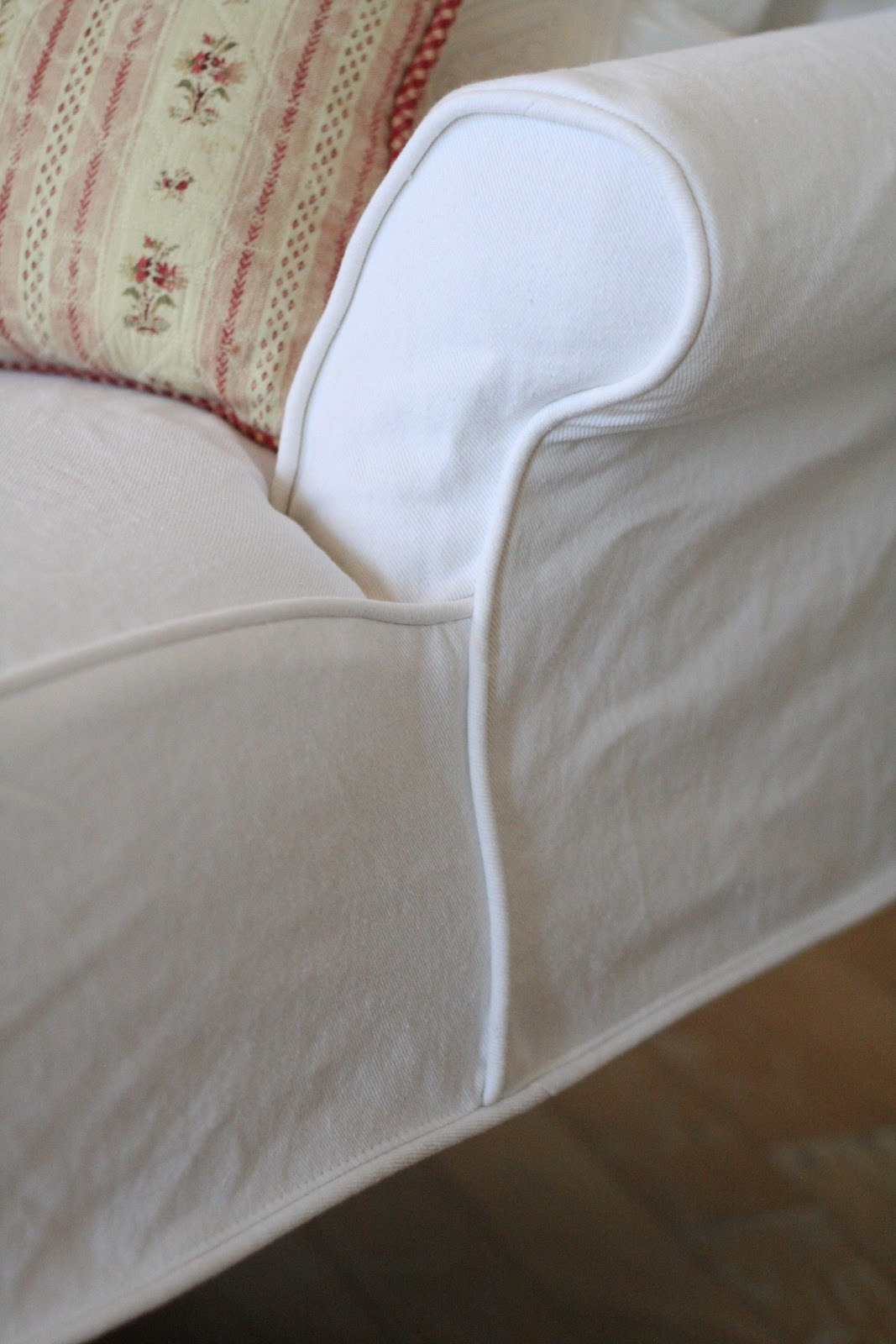 Custom slipcovers by shelley white denim chaise for Chaise cushion slipcover