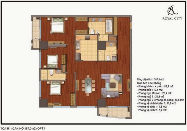mặt bằng căn hộ 187.3m2 tòa R1 chung cư Royal City