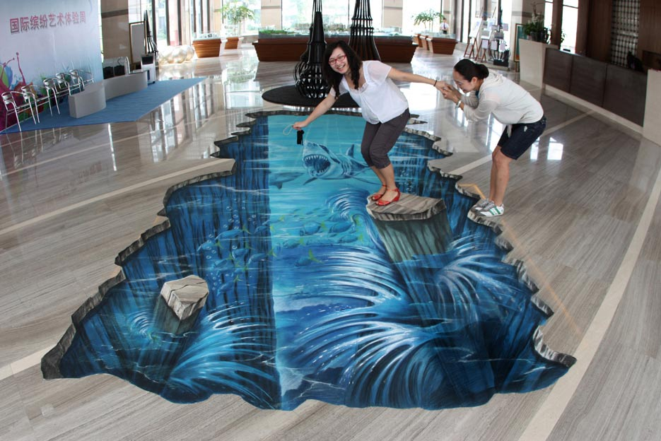 Creative and cool 3d street art for 3d bathroom drawing